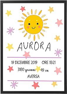 Quadro Nascita Personalizzato con Cornice - Regalo Bimba quadretto Sole - Quadro varie dimensioni vari colori Made in Ital...