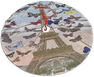 Love beautiful Eiffel Tower Butterfly Christmas Tree Skirt 30 inch Plush Faux Fur Xmas Tree Skirt Mat for Halloween Holiday Party Home Decoration Gift Indoor Outdoor