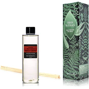 Urban Naturals Vetiver Man CAVE Scented Reed Diffuser Refill Set | Includes a Free Set of Reed Sticks! 4 oz. | A Fabulous Masculine Scent! Great Gift Idea Home Fragrance Lovers!