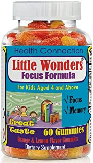 Brain Focus & Memory Formula Gummies for Kids, Attention & Focus Help for Children, Great Taste Calming Supplement, Natural Omega 3 DHA Nootropic MultiVitamins, Best School Study Help