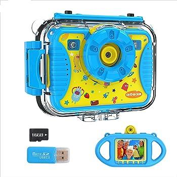 Showcam cámara para niños, selfie, impermeable, cámara de acción para niños, 4 juegos, luces de suplemento, 1080P, 8 MP, visualización HD de 2,4 pulgadas, con tarjeta SD de 16 GB y funda de silicona, los mejores juguetes y regalos para niños (azul)