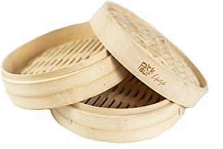 Picksur LifeStyle Handmade Bamboo Steamer 10 inch 2 tier | includes 2 reusable cotton liners | dumpling steamer | steamer basket | vegetable steamer