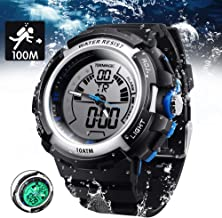 TEKMAGIC 10 ATM Digital Submersible Diving Watch 100m Water Resistant Swimming Sport Wristwatch Luminous LCD Screen with S...