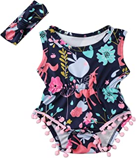 Annvivi Newborn Toddler Baby Girls' Floral Summer Outfit Pompom Romper with Headband