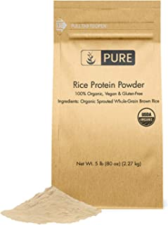 Rice Protein Powder (5 lbs), Sustainably Sourced, Vegan & Gluten-Free, Made of Sprouted Brown Rice, Post-Training Recovery...
