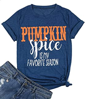 Pumpkin Spice is My Favorite Season T-Shirt for Women Halloween Funny Graphic Casual Fall Top Tees