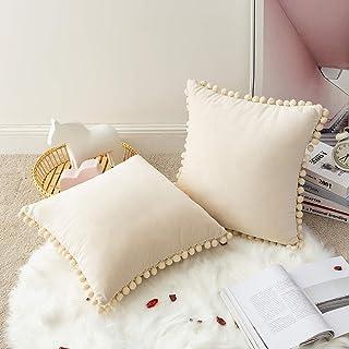 MIULEE Zestaw 2 aksamitnych poszewek na poduszki na sofę, dekoracyjne poduszki na kanapę, dekoracyjne poszewki na poduszk...