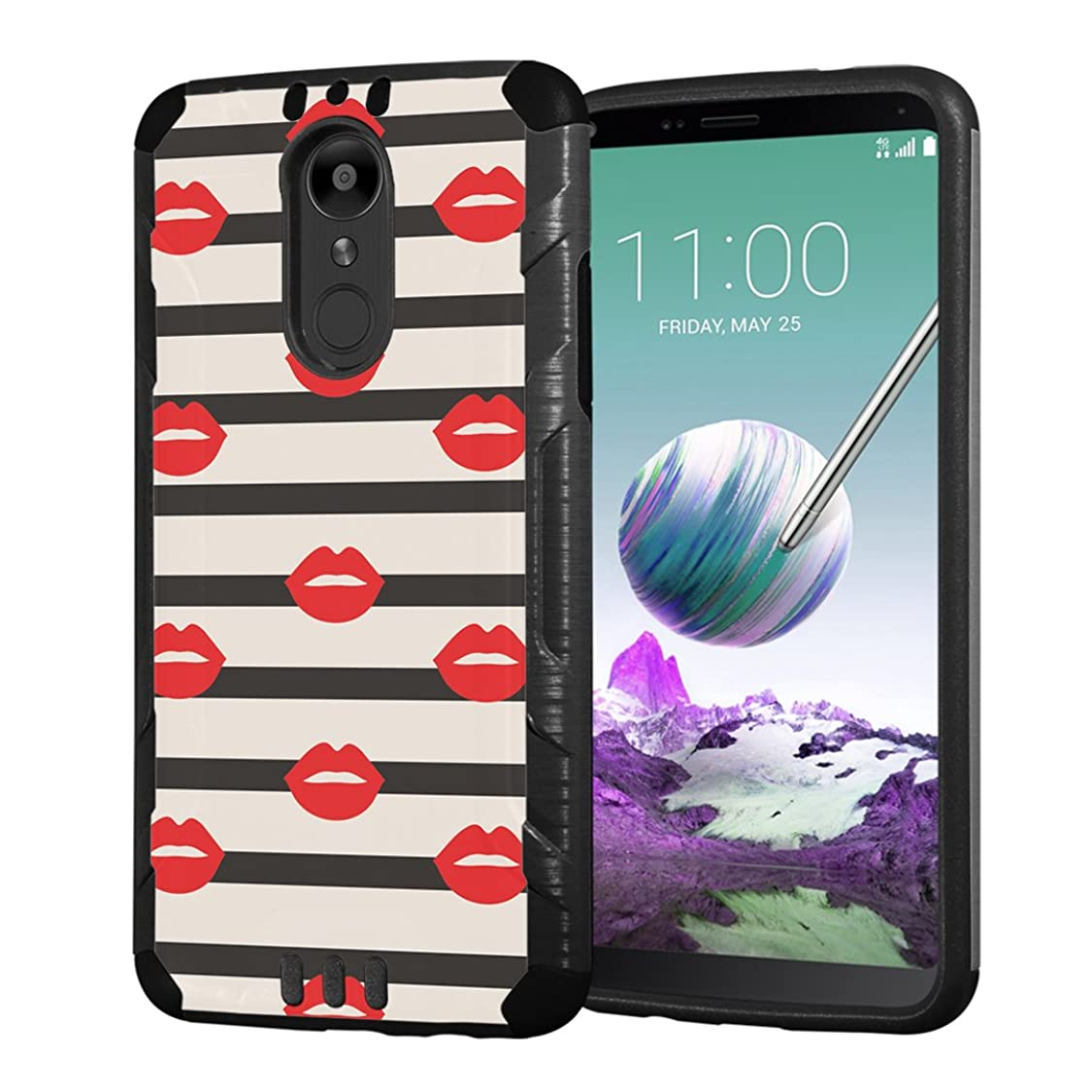 Moriko Case Compatible with LG Stylo 4 Plus, LG Stylo 4, LG Q Stylus [Armor Layer Drop Protection Slim Fashion Shockproof Black Case] for LG Stylo 4 - (Strips Red Lips) hx22050915235377