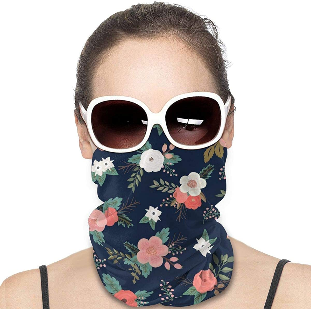 Tidyki Bandana Face Mask - Floral Sweet Bouquets in Navy and Coral Motorcycle Mask Bandana Face Mask Multifunctional Headwear Head Bands Face Cover Headwear Sun Mask