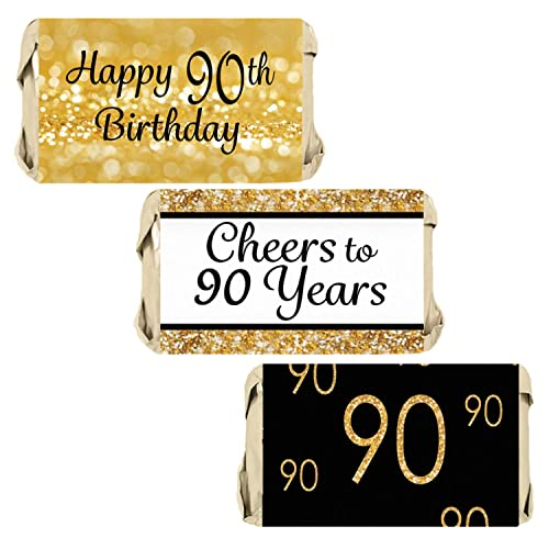 DISTINCTIVS Black And Gold 90th Birthday Party Mini Candy Bar Wrappers
