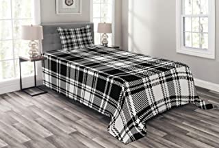 Lunarable Plaid Bedspread, Monochrome Style Vintage English Stripes and Checks Pattern Abstract Grunge Look, Decorative Quilted 2 Piece Coverlet Set with Pillow Sham, Twin Size, White Black