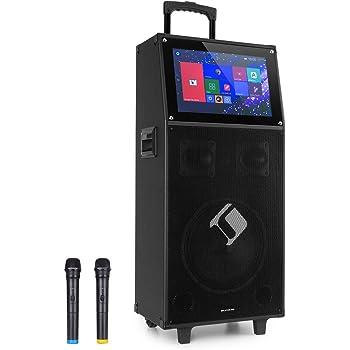 auna KTV Sistema de Karaoke - Equipo PA móvil, Bluetooth, USB, Ranura SD, Micro-SD, HDMI, Entrada