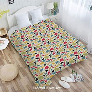 PUTIEN Flannel Fleece Blanket with 3D Retro Style Grunge Composition with Different Animals Australia Fauna Jungle Nature Perfect for Couch Sofa or Bed(39Wx49L)