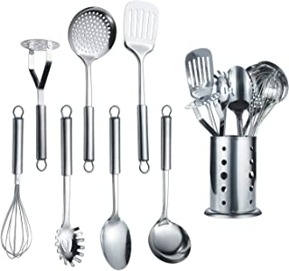 Berglander Stainless Steel Kitchen Utensil 1 Piece With 1 Stand, Cooking Spoon, Kitchen Tools Cooking Utensil With Holder....