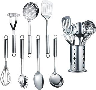 Berglander Utensilio de cocina de acero inoxidable de 7 piezas con 1 soporte, afinador ranurado, cucharón, espumadera, cuc...