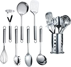 Berglander Stainless Steel Kitchen Utensil 1 Piece with 1 Stand, Cooking Spoon, Kitchen Tools Cooking Utensil with Holder. (8 Pieces)