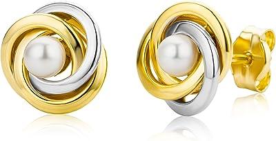 Miore MA9005E - Pendientes de oro bicolor de 9 quilates con perla con cierre de mariposa a presión