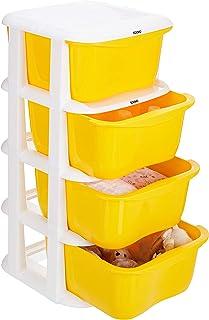 Amazon Brand - Solimo Plastic Multipurpose Modular Drawer, 4 Racks, Yellow