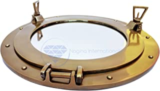 Nagina International Powder Coated Antique Brass Finished Nautical Ship's Porthole Mirror and Windows | Wall Decor Mirror Gifts & Collectibles 17 inches, Transparent Glass (Window)
