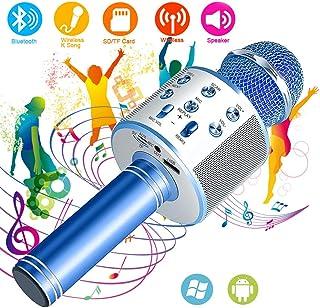SunTop Micrófono Inalámbrico Karaoke Bluetooth, Portátil Altavoces Microfono, LED Microfono Niños para Cantar, Función de Eco, Compatible con Android, PC