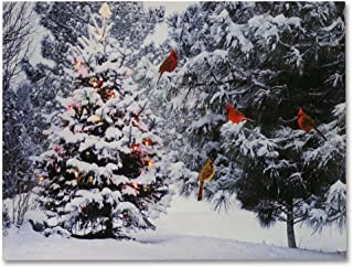 Christmas Tree & Cardinal Birds LED Canvas Print - Snowy Winter Forest Pine Trees Scene - Lighted Picture - Wall Art with Battery Operated Led Lights