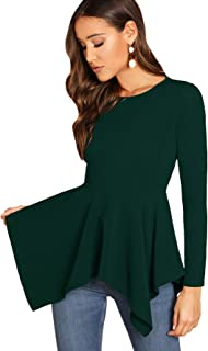 Milumia Women's Round Neck Long Sleeve Pullovers Asymmetrical Hem Peplum Tops