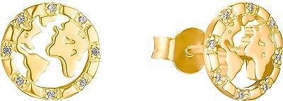 s.Oliver - Orecchini a bottone argento zirconia_cubica Donna, Oro, klein - 2032797