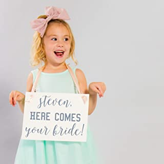 Personalized Here Comes Your Bride Sign Custom Ring Bearer Wedding Banner | Handcrafted Signage for Wedding Ceremony for Flower Girl | Niece or Nephew of Groom