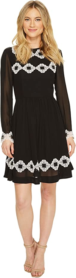 Ted Baker Avianah Applique Detail Long Sleeve Dress