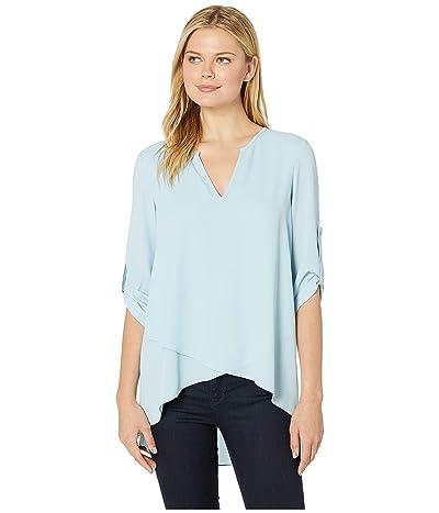 Karen Kane Asymmetric Hem Wrap Top (Light Blue) Women