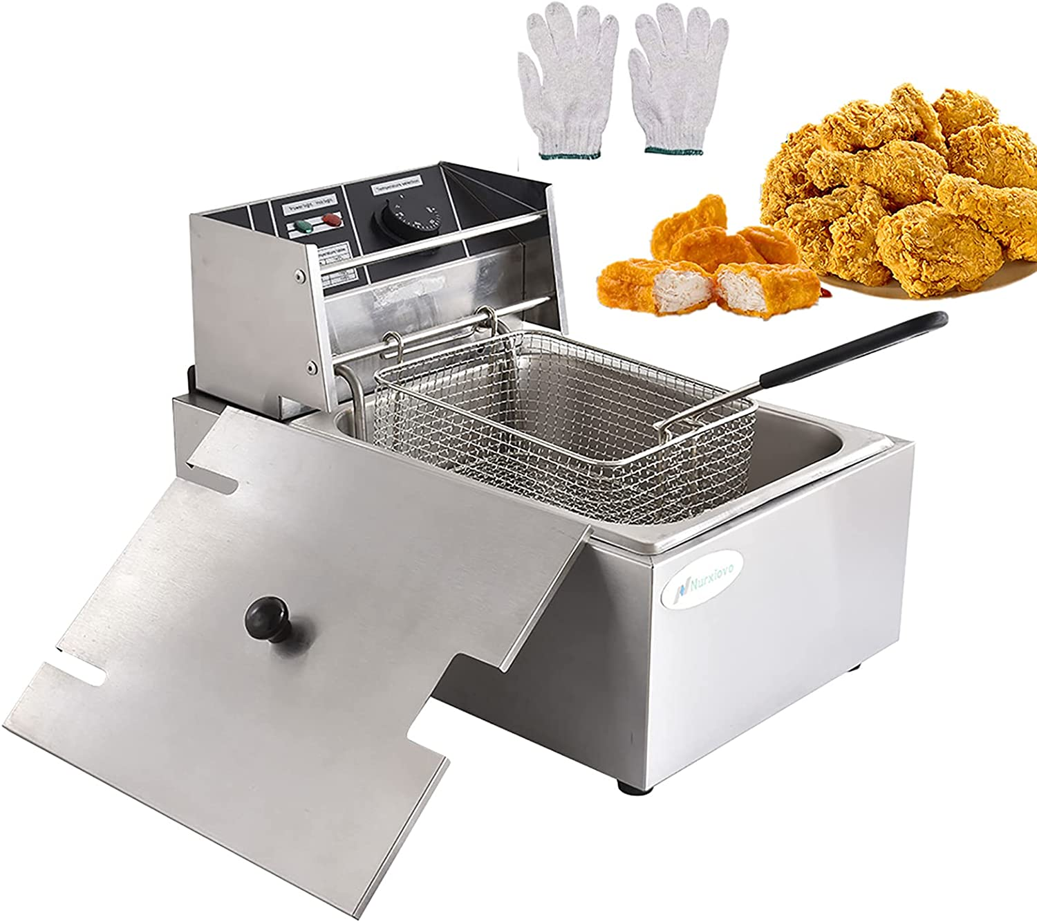 Commercial Electric Deep Fryer, 1800W 8L Single Tank, Countertop Kitchen Frying Machine With Basket & Lid, Stainless Steel French Fryer Oil Fryer For French Fries Fish Turkey Chips Restaurant Home