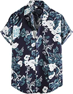 Spritumn-Home Camisa de Manga Corta Hombre T Shirt Hawaiano de Manga Corta con Cuello en V Estampado Flores Camiseta Casua...