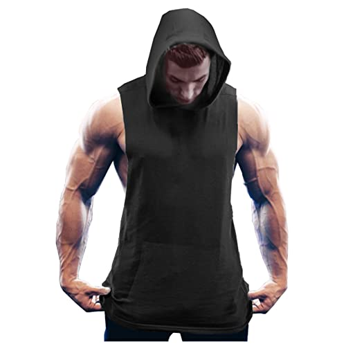 e25bb933e30349 COOFANDY Men s Workout Hooded Tank Tops Bodybuilding Muscle Cut Off T Shirt  Sleeveless Gym Hoodies