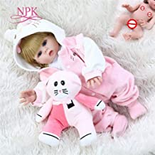 Redland Art Redland Art 48CM Full Body Soft Silicone Bebe Doll Reborn Baby Girl in Pink Kitten Dress Set Lifelike Flexible Baby Doll (Color : Brown Eye, Size : 48CM)