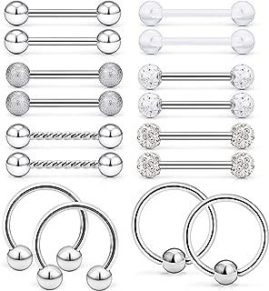 16Pcs Nipple Ring 14G Surgical Steel Tongue Nipplerings Barbell Bar Hoop Rings Retainer Piercing Jewelry for Women Men 14MM (9/16 Inch)