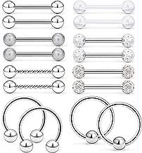 Ftovosyo 16Pcs Nipple Ring 14G Surgical Steel Tongue Nipplerings Barbell Bar Hoop Rings Retainer Piercing Jewelry for Women Men 14MM (9/16 Inch)