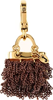 Chain Purse Charm Bracelet Charm Goldtone Brown Bag