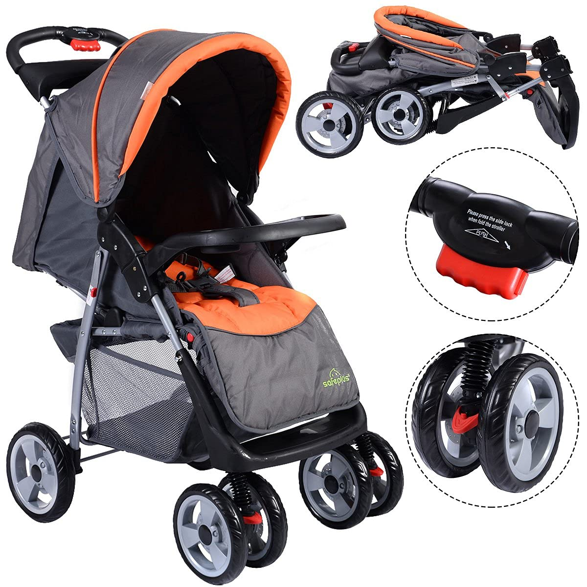 HOMGX Baby Stroller with Three Adjustable Positions, Lightweight Easy Fold Compact Travel Stroller with Lockable Wheels, 2 in 1 Baby Stroller, Includes Child Tray, Cup Holder, Storage Basket (Gray)