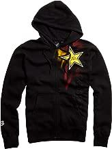 Fox Racing Rockstar Faded Front Fleece Men's Hoody Zip Authentic Sweatshirt - Black / Medium