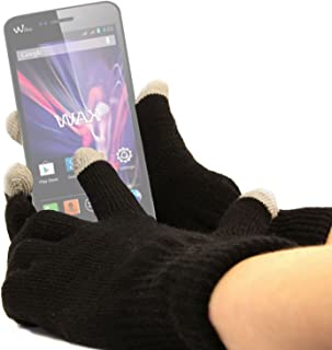 DURAGADGET Unisex Black Touch Screen Gloves (Large) - Suitable for Wiko Wax/Highway/Getaway