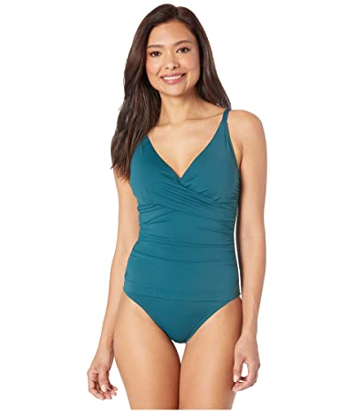 Tommy Bahama Pearl Over the Shoulder Cross Front One-Piece (Caledon Sea) Women