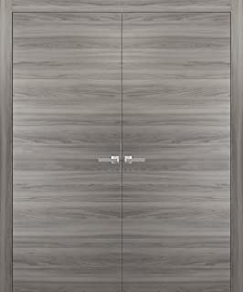 French Double Doors 48 x 80 inches with Hardware | Planum 0010 Ginger Ash | Trims Lever Hinges | Solid Pre-hung Door Flush Modern Design
