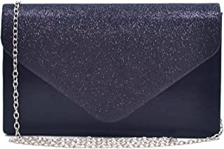Evening Envelope Bag for Women Glitter Frosted Clutch Handbag with Detachable Chain Strap Party Bridal Wedding