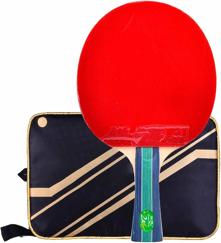 HXFENA Palas de Ping Pong,Bate de Tenis de Mesa Raqueta Ofensiva Profesional de 2 Estrellas,para Actividades Familiares, Escuelas Y Clubes Deportivos/A/mango largo