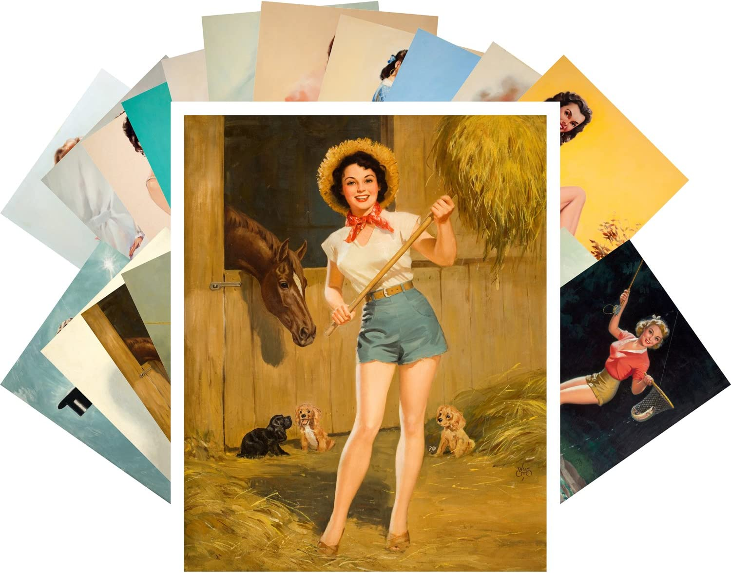 Postcard Set 24pcs Pinup Girls by Raleigh Mall Popular Vintage and Walt Otto Ted Kuck
