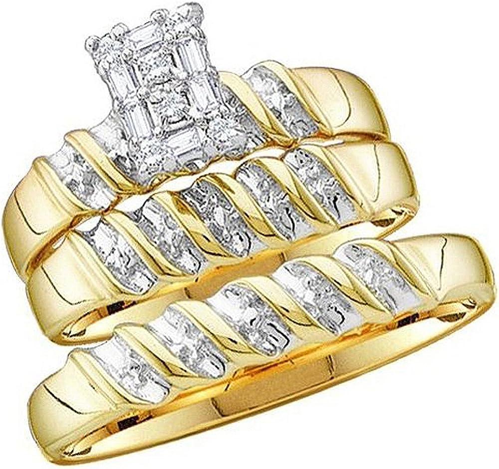 Dazzlingrock Collection 0.05 Carat (ctw) 10K Gold Round Diamond Men & Ladies Trio Set