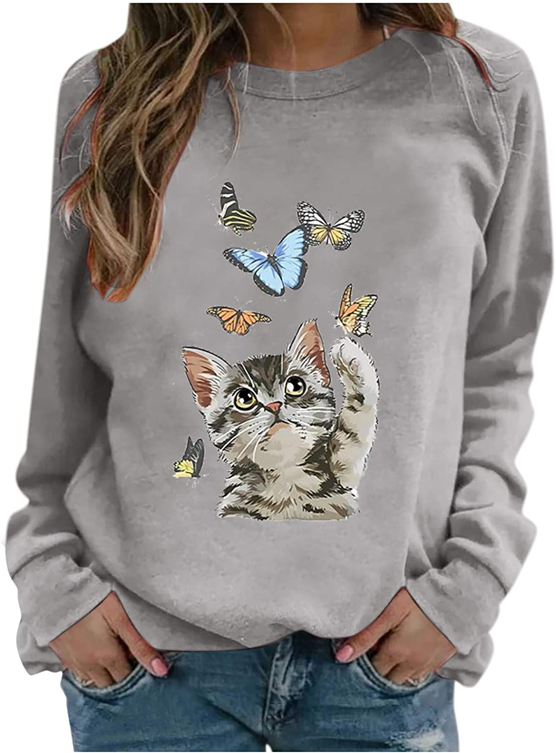 Graphic Tshirts for Women Long Sleeve Funny unisex and Cat Max 90% OFF Butterflies