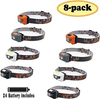 Pack 8.SUNYANG Waterproof White+Red Light Headlamp,4 Brightness Level Choice,160 Lumens,50g Weight,Comfortable Head Headlamp