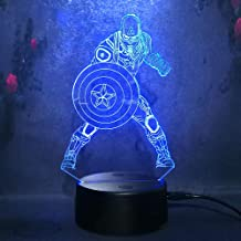7Color Change Captain America Shield Figure 3D Acrylic Night Light LED Touch Illusion Birthday Christmas Child Gift