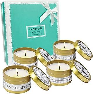 LA BELLEFÉE Scented Candle Soy Wax Travel Tin Aromatherapy Candles Gift Set for Wedding, Festival - Lemongrass Bergamot, S...